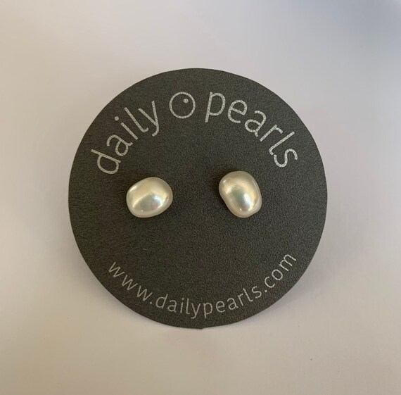 9mm Baroque Pearl Studs, Gleaming White-White and Elegantly Organic