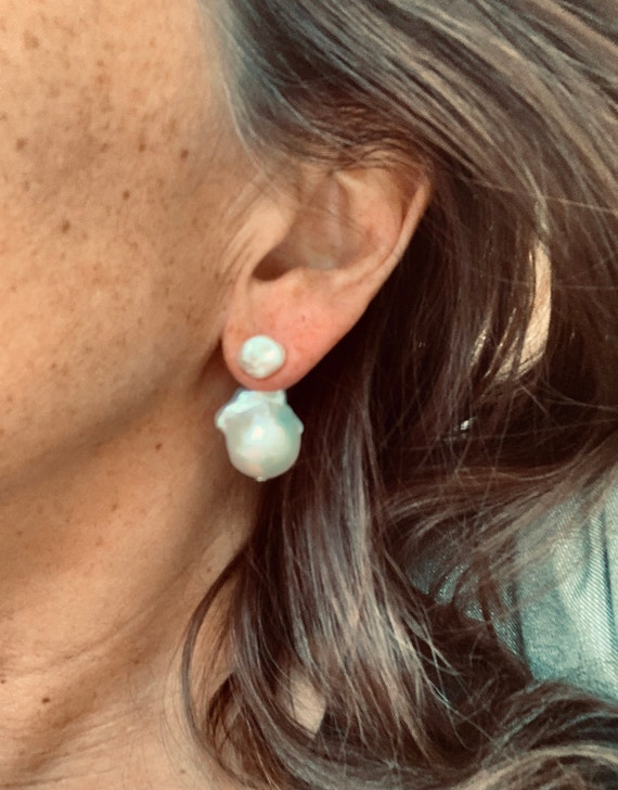 Removable Silver-White Baroque Pearl Drop Extensions Giving You Studs AND Drops, Wear in Front or Behind the Ear, Fabulous and Practical