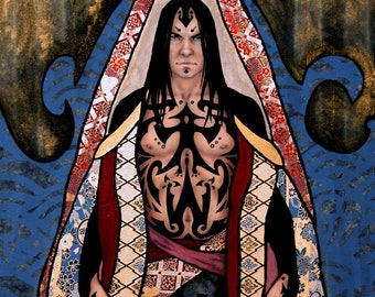 """Large giclee print - tattooed man in patterned robes - 18"""" x 24"""" or 16"""" x 20"""""""