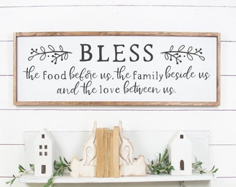 Bless The Food Before Us Wood Sign Large Dining Room Kitchen Prayer Wall Art
