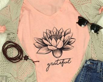 296dba375 Grateful Lotus T-Shirt | Grateful T-Shirt | Ladies Tops | T-Shirts For  Women | Tees For Women | Namaste Warriors | Spiritual Clothing