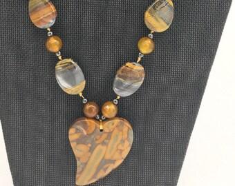 Brecciated jasper heart necklace