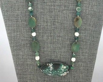 Oval Green fire agate pendant necklace