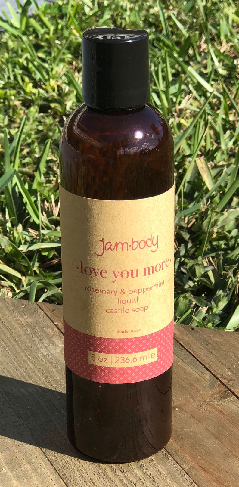 love you more - rosemary & peppermint | liquid castile soap | e  8 oz  /  236 6 ml