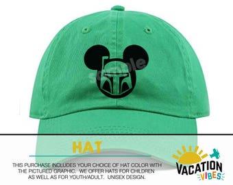 Mickey star wars Disney Hat Toddler Boy or Girl - Kids Disneyland Hat boba  fett - Disney Mickey Baseball Cap - Bday Gift Adult starwars hat f29af2a27e3