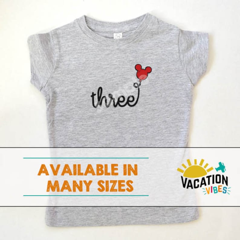 Disney Three Birthday Shirt Toddler Boy Or Girl 3rd