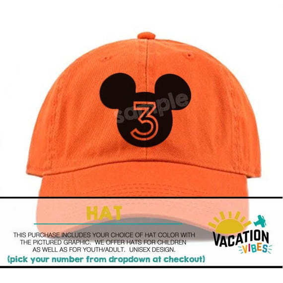1733381f666 Disney Mickey Hat 3rd Birthday Toddler Boy or Girl 3 Bday