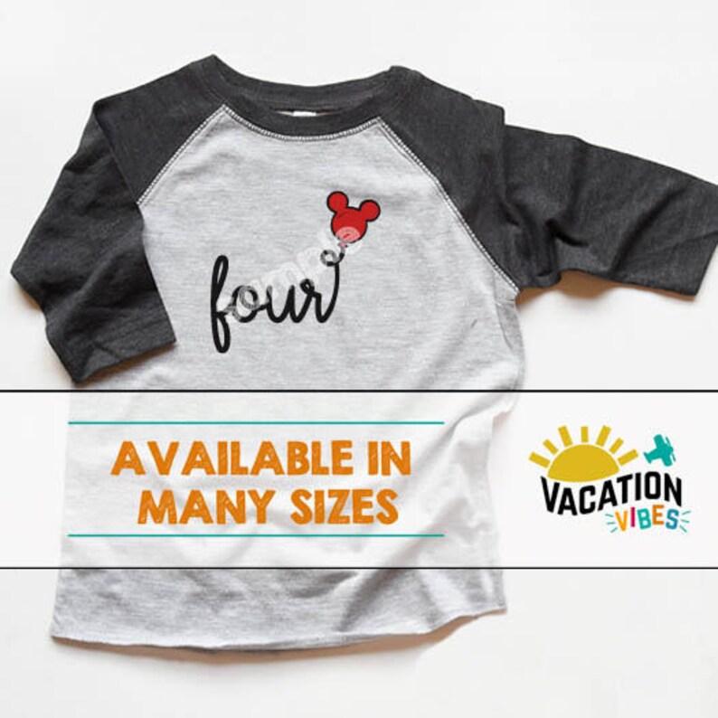 7565e6e4f9a Four Birthday Shirt Disney Mickey Balloon Kids 4th Birthday