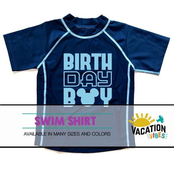 f9c9362b5d2 Birthday Boy Mickey Swim Shirt Kids Toddler or Baby