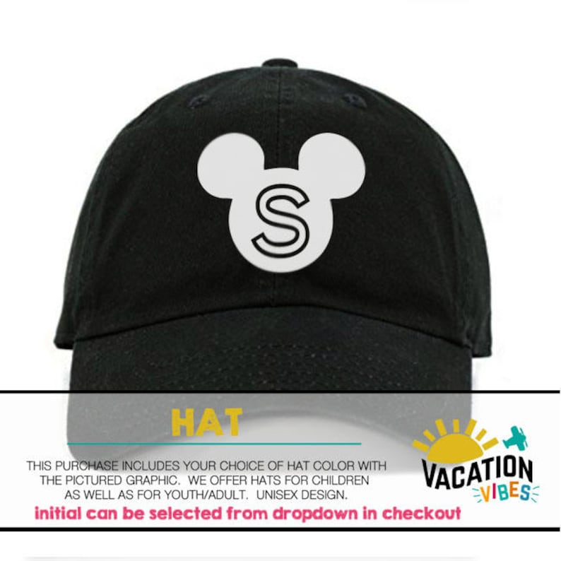 a684f45b412 Mickey Head Personalized Kids Hat Custom Initial Disney
