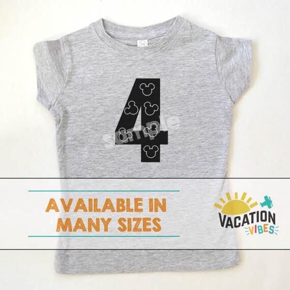 94359c0714d 4 Disney Mickey Birthday Shirt Toddler Boy or Girl Four Bday