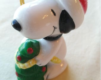 Vintage 1960's Snoopy Christmas Tree Porcelain Hand Painted Ornament