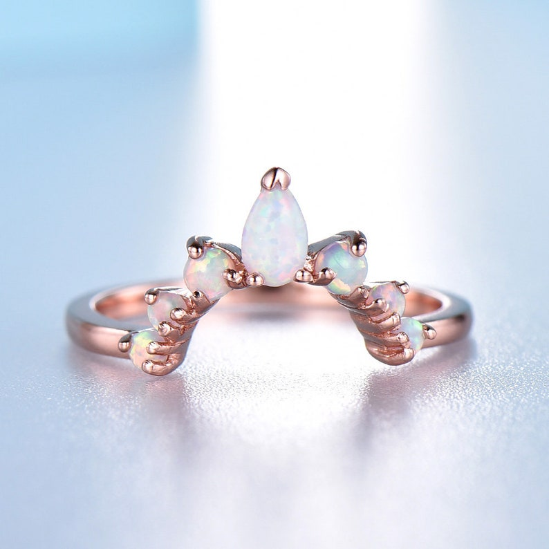 3dd2ce925f0712 Opal Ring 14K Solid Rose Gold Ring White fire Opal Curve   Etsy