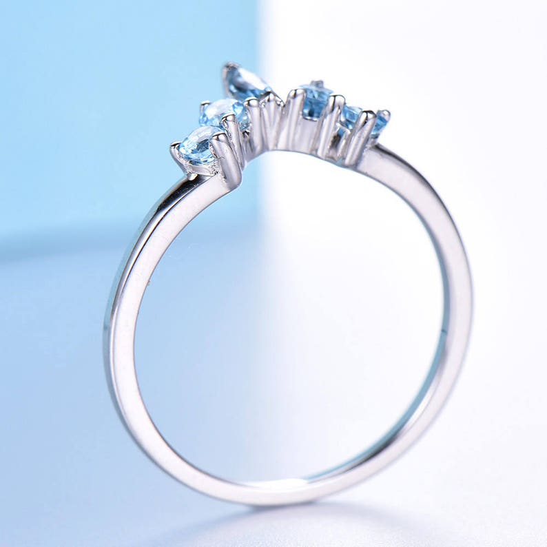 Blue Topaz Wedding Band 10K14K18K White Gold Moissanite Diamond Ring handcrafted Marquise and Round Shape Curved matching band