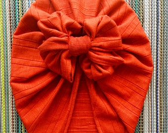 Marigold orange bow turban