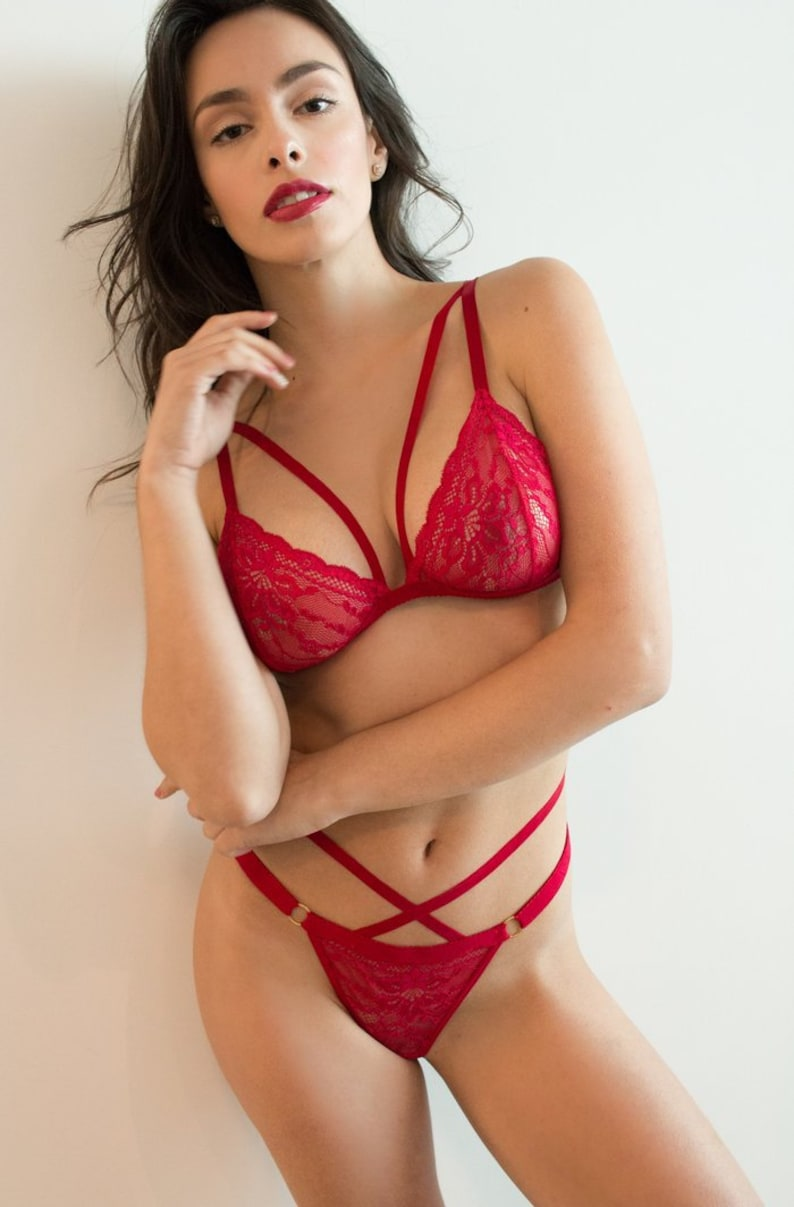 afdb8ec8d9 Red Lace Lingerie Set LOVE ME MORE Panty