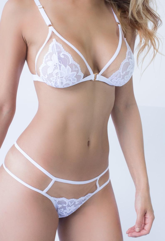 White Lace Lingerie Bralette GLASSY
