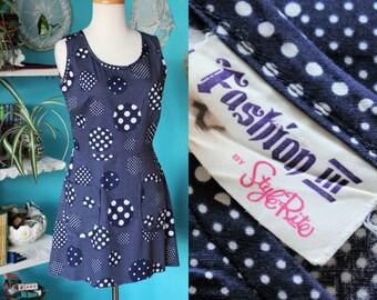 0fc17d91a Navy Polka Dot Dress/1960s Mini Dress/White & Dark Blue Dress