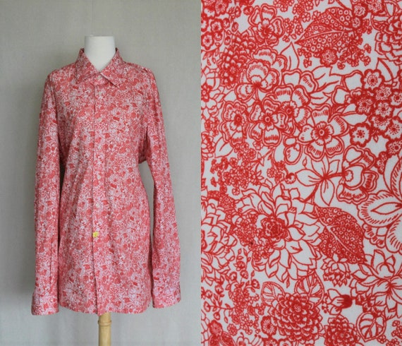 Red & White Mens Bohemian Shirt/Floral Shirt Men/M