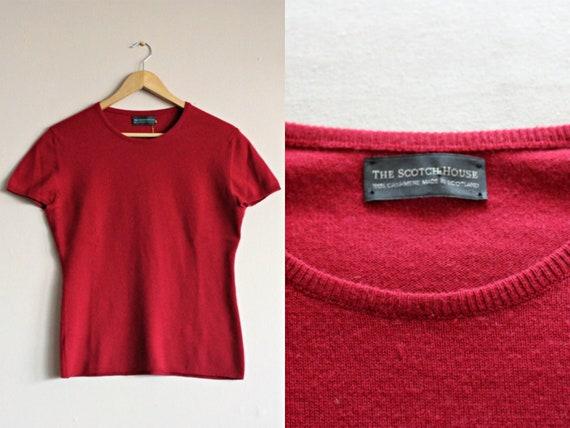 Red Wool Sweater Vintage/Crimson Cashmere Jumper/S
