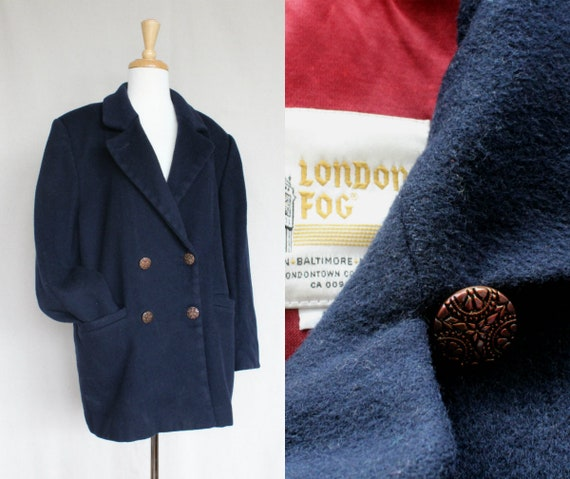 Vintage London Fog Boiled Wool Coat/Blue Oversized
