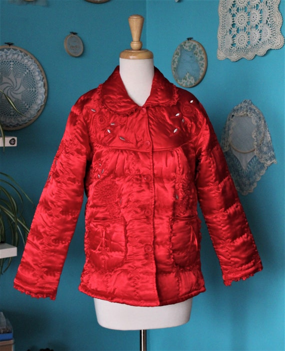 Red Satin Puffer Jacket/Vintage Quilted Puffer Co… - image 9