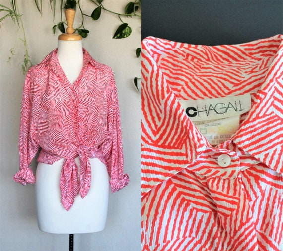 White & Red Vintage Blouse/Silky 80s Abstract Shir