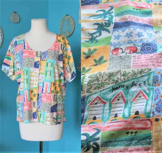 Multicolour 80s Abstract Shirt/Patchwork Colourful