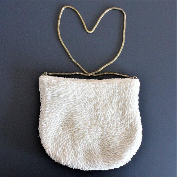 White Beaded Clutch/Vintage Beaded Bag/White Weddi