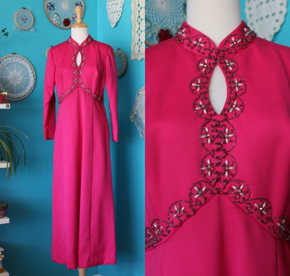 Hot Pink 70s Maxi Dress/Beaded Hippie Wedding Dres