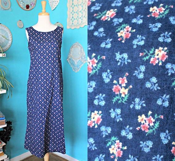 Blue Floral Maxi Dress/Soft Grunge Dress/90s Minim
