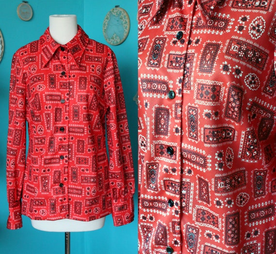 70s Geometric Black and Red Western Blouse/70s Wes