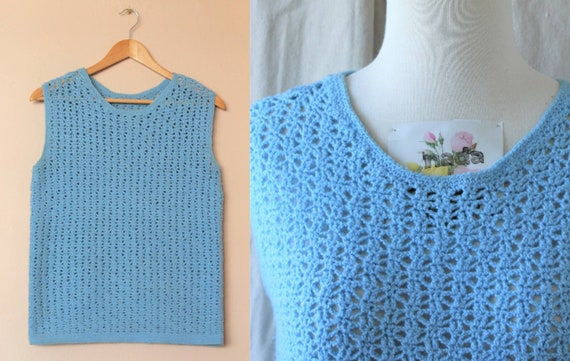 Cute Vintage Crochet Tank Top / Blue Crochet Top