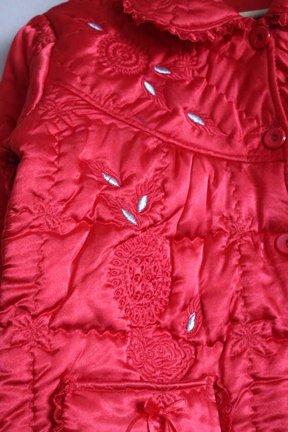 Red Satin Puffer Jacket/Vintage Quilted Puffer Co… - image 7