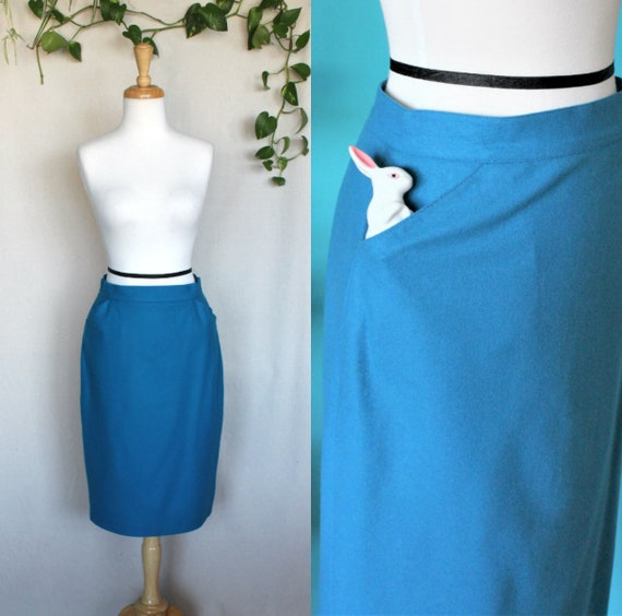 Light Blue Skirt with Pockets/Vintage Pencil Skirt