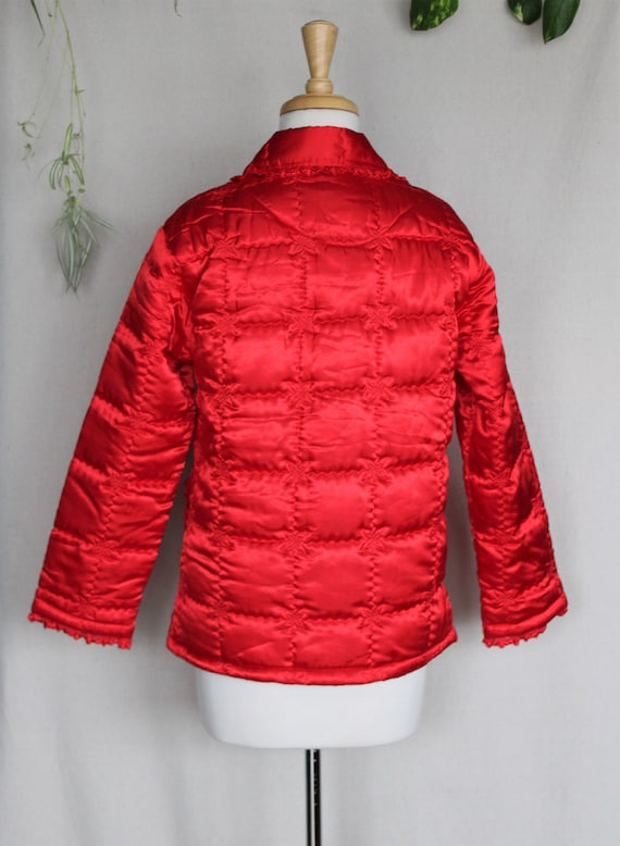 Red Satin Puffer Jacket/Vintage Quilted Puffer Co… - image 4