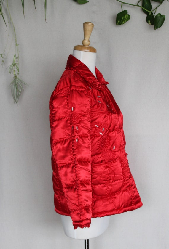 Red Satin Puffer Jacket/Vintage Quilted Puffer Co… - image 3