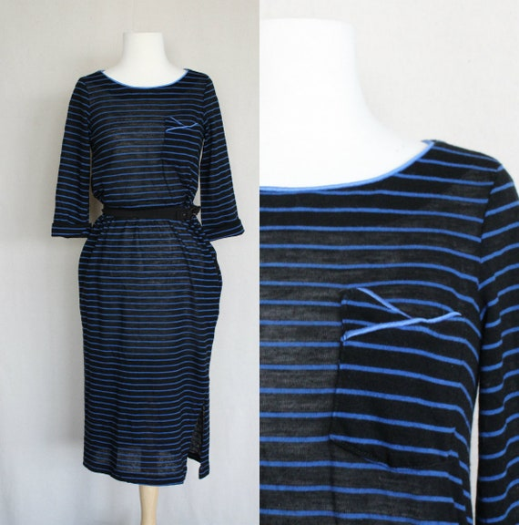 That 70s Show Striped Shirt Dress/Black & Blue Sof