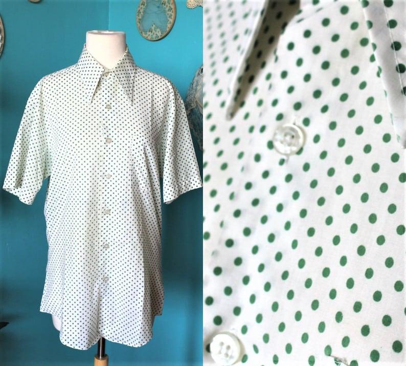 55d53885e Vert à pois chemise homme blanc Blouse d'été/Mens bouton chemise/Polka Dot  blouse