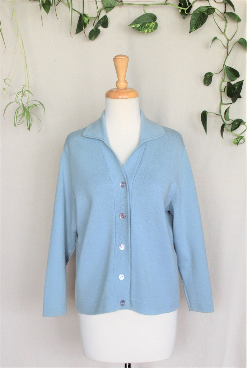 Powder Blue Crop SweaterWool Sweater Vintage70s Knit Cardigan Woman