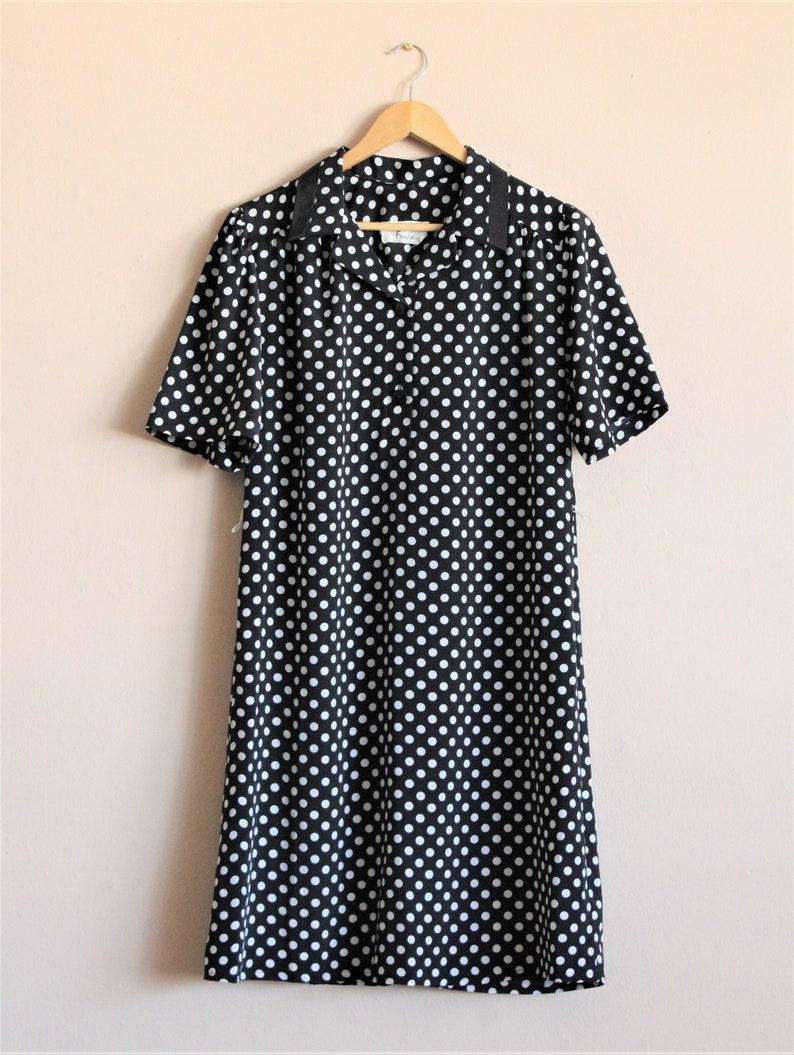 Polka Dot Mod Shift DressV Neck Black Dress1980s Shirtdress