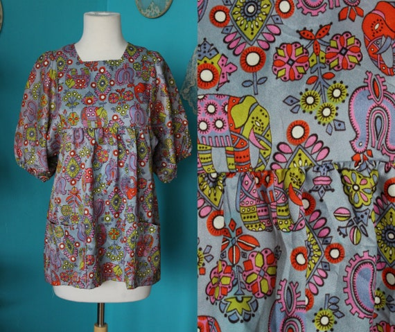 Purple Elephant Top/1960s Blouse/Psychedelic Cloth