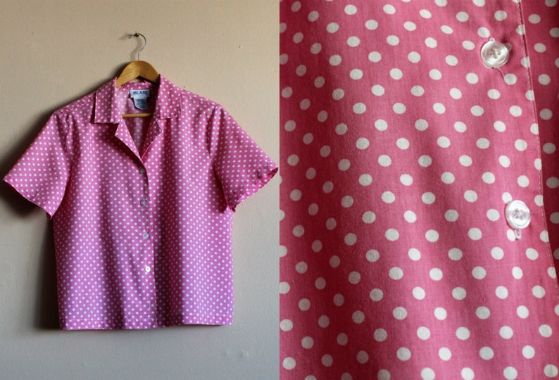 93ecbd3761c28 Pink   White Lolita Blouse Polka Dot Summer Blouse Cute 80s