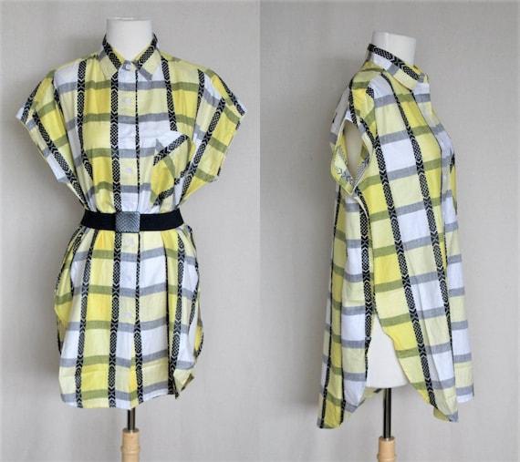 Soft Grunge Summer Dress/Black & Yellow Plaid Shif