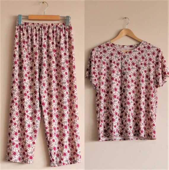 Floral Womens Pajama Set/Vintage Womens Sleepwear/