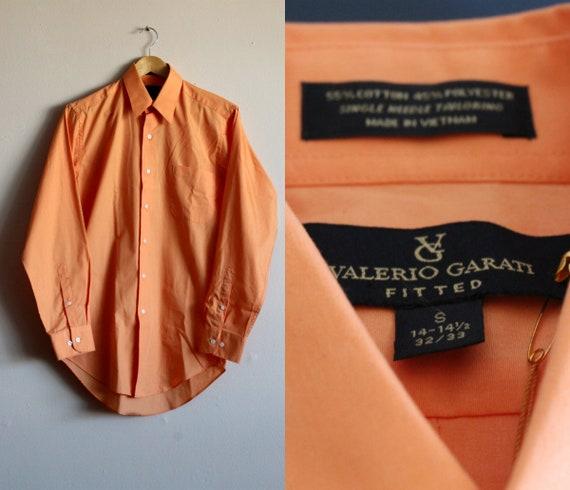 Orange Cotton Shirt/Mens Button Up Shirt/Mens Smal