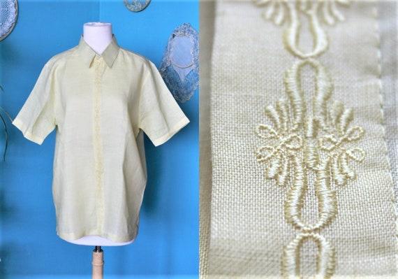 Yellow Linen Shirt Men/Embroidered Linen Shirt Wom