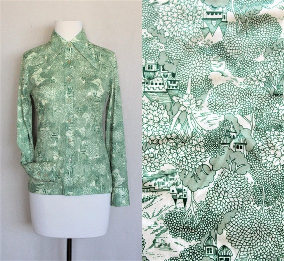 Green & White High Neck Blouse/Castle Print 70s Bo