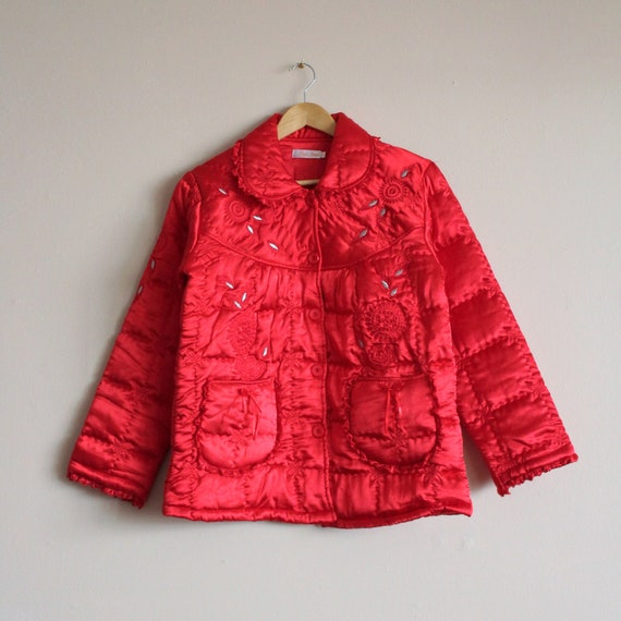 Red Satin Puffer Jacket/Vintage Quilted Puffer Co… - image 6