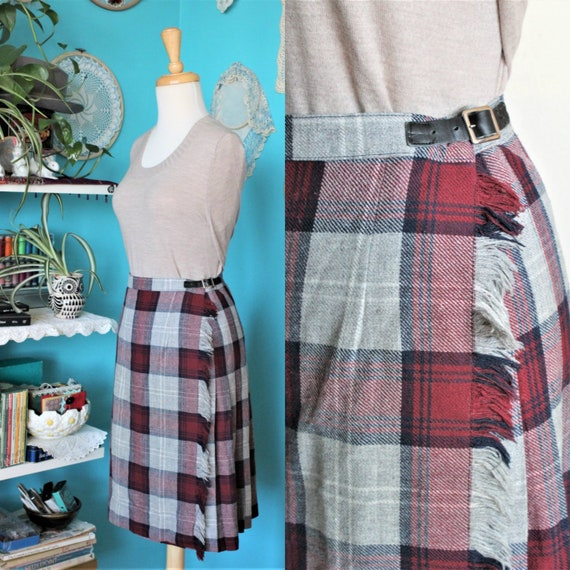 Maroon & Grey Pleated Mini Skirt/Tartan Pleated Sk